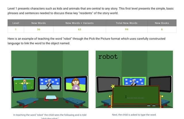 Screenshot of level 1 for ASD reading